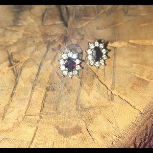 Jewelry - *Genuine* Garnet/Zirconia earrings (Deep Red)